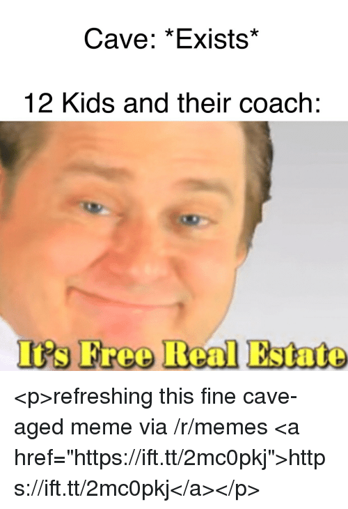 "Meme, Memes, and Free: Cave: *Exists*  12 Kids and their coach:  's Free Real Estate <p>refreshing this fine cave-aged meme via /r/memes <a href=""https://ift.tt/2mc0pkj"">https://ift.tt/2mc0pkj</a></p>"