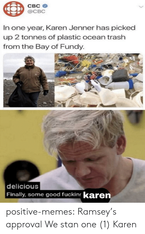 Approval: CBC  @CBC  In one year, Karen Jenner has picked  up 2 tonnes of plastic ocean trash  from the Bay of Fundy.  delicious  Finally, some good fucking karen positive-memes:  Ramsey's approval  We stan one (1) Karen