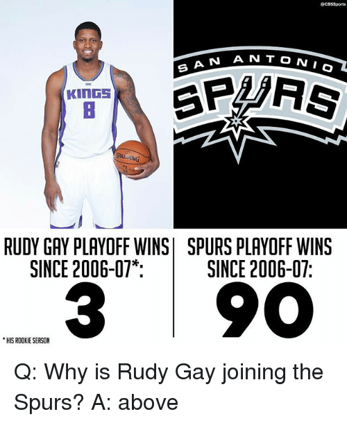Cbssports: @CBSSports  N T O N  A N AN T  KInGS  PALDING  RUDY GAY PLAYOFF WINS SPURS PLAYOFF WINS  SINCE 2006-07*  SINCE 2006-07:  3 90  HIS ROOKIE SEASON Q: Why is Rudy Gay joining the Spurs? A: above