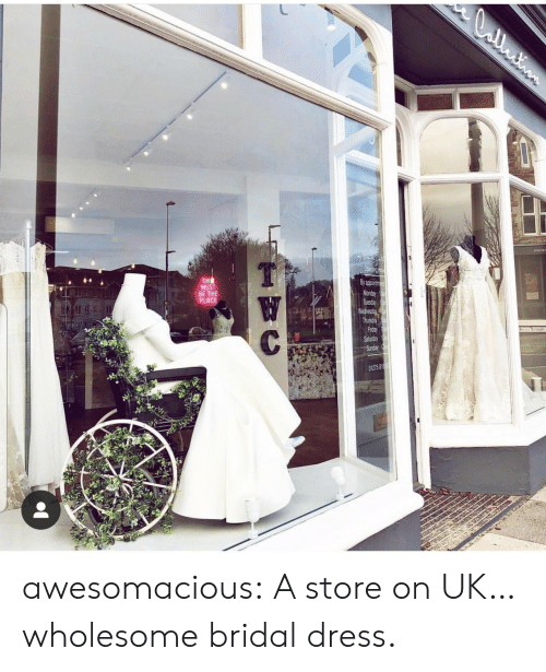 Wednesday: CCntion  Opening Ho  TH  MUST  BE THE  PLACE  By appoirtme  Monday  Tuesday  Wednesday  Thursday  Friday  Saturday  Sunday  W  C  01275 818 awesomacious:  A store on UK…wholesome bridal dress.