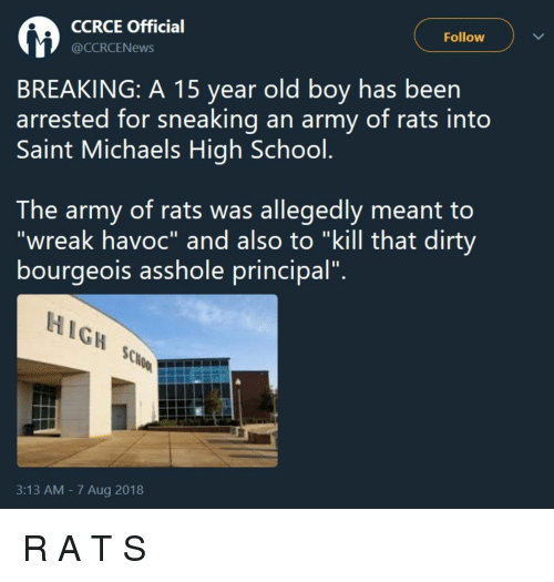 """Michaels: CCRCE Officia  @CCRCENews  Follow  BREAKING: A 15 year old boy has been  arrested for sneaking an army of rats into  Saint Michaels High School  The army of rats was allegedly meant to  """"wreak havoc"""" and also to """"kill that dirty  bourgeois assnole principal.  HIGH  3:13 AM - 7 Aug 2018 R A T S"""