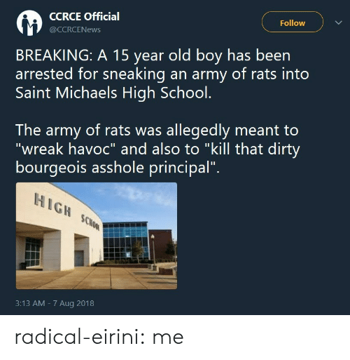 """Michaels: CCRCE Official  @CCRCENews  Follow  BREAKING: A 15 year old boy has been  arrested for sneaking an army of rats into  Saint Michaels High School.  The army of rats was allegedly meant to  """"wreak havoc"""" and also to """"kill that dirty  bourgeois asshole principal"""".  HIGH SCo  3:13 AM - 7 Aug 2018 radical-eirini: me"""