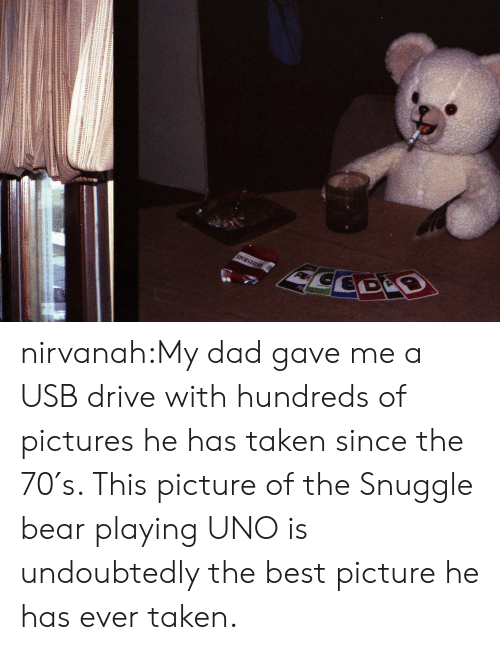 snuggle bear: CEDS nirvanah:My dad gave me a USB drive with hundreds of pictures he has taken since the 70′s. This picture of the Snuggle bear playing UNO is undoubtedly the best picture he has ever taken.