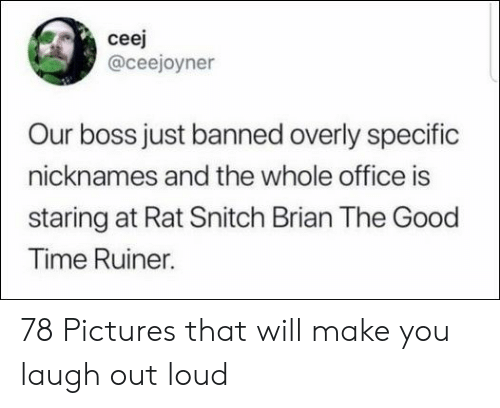laugh out loud: ceej  @ceejoyner  Our boss just banned overly specific  nicknames and the whole office is  staring at Rat Snitch Brian The Good  Time Ruiner. 78 Pictures that will make you laugh out loud