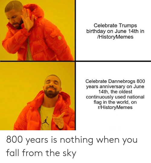 Birthday, Fall, and History: Celebrate Trumps  birthday on June 14th in  /HistoryMemes  Celebrate Dannebrogs 800  years anniversary on June  14th, the oldest  continuously used national  flag in the world, on  r/HistoryMemes 800 years is nothing when you fall from the sky