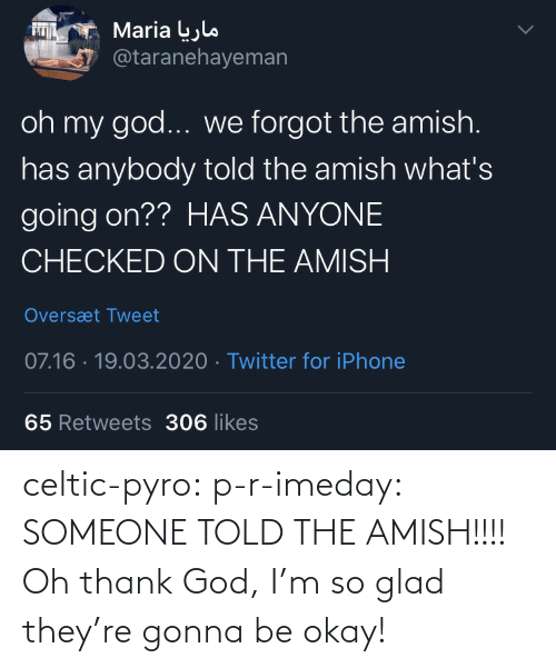 Told: celtic-pyro:  p-r-imeday:  SOMEONE TOLD THE AMISH!!!!  Oh thank God, I'm so glad they're gonna be okay!
