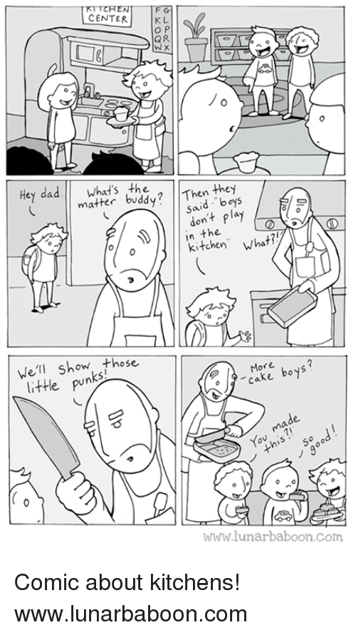 "Memes, Cake, and Boys: CENTER  K L  QR  Hey daWhat's the  matter buddy? Then they  said boys  don't play  in the  kitchen"" What?  Wel show those  little pun  More bojs  More  o  o cake bo  cake boys?  de  made  o50 00  www.lunarbaboon.com Comic about kitchens! www.lunarbaboon.com"