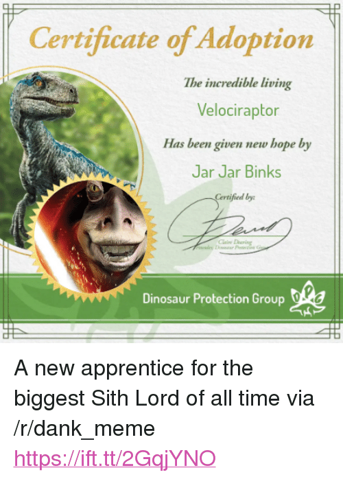 "Dank, Dinosaur, and Jar Jar Binks: Certificate of Adoption  The incredible living  Velociraptor  Has been given new hope by  Jar Jar Binks  fied by  Dinosaur Protection Group dlea <p>A new apprentice for the biggest Sith Lord of all time via /r/dank_meme <a href=""https://ift.tt/2GqjYNO"">https://ift.tt/2GqjYNO</a></p>"