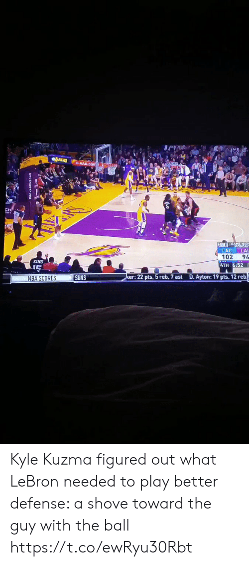 Nba, Sports, and Lebron: CH  LAC LAL  102 94  4TH 6:52  KING  NBA SCORES  SUNS  er: 22 pts, 5 reb, 7 ast  D. Ayton: 19 pts, 12 reb Kyle Kuzma figured out what LeBron needed to play better defense: a shove toward the guy with the ball https://t.co/ewRyu30Rbt