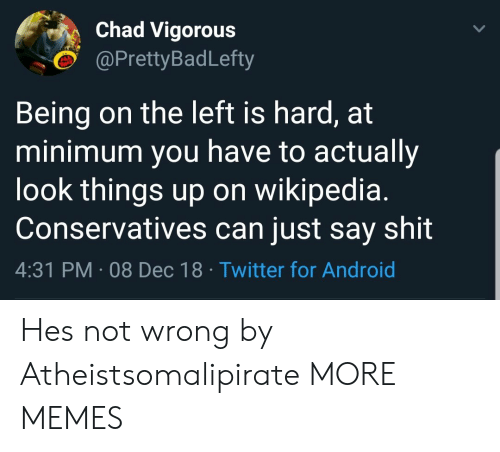 Android, Dank, and Memes: Chad Vigorous  @PrettyBadLefty  Being on the left is hard, at  minimum you have to actually  look things up on wikipedia.  Conservatives can just say shit  4:31 PM 08 Dec 18 Twitter for Android Hes not wrong by Atheistsomalipirate MORE MEMES