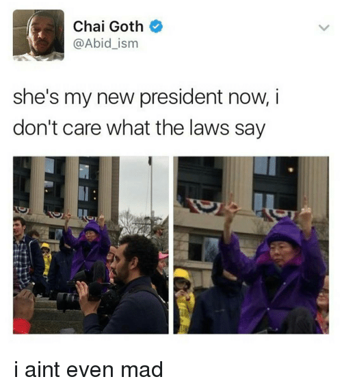 President Now: Chai Goth  @Abid ism  she's my new president now, i  don't care what the laws say i aint even mad