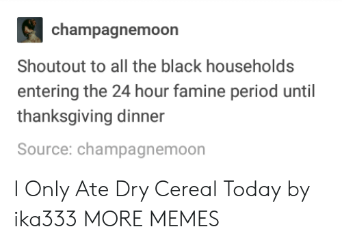 thanksgiving dinner: champagnemoon  Shoutout to all the black households  entering the 24 hour famine period until  thanksgiving dinner  Source: champagnemoon I Only Ate Dry Cereal Today by ika333 MORE MEMES
