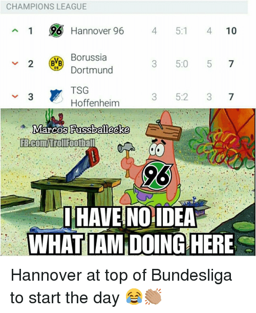 tsg: CHAMPIONS LEAGUE  1 96 Hannover 96  4 5:1 410  Borussia  Dortmund  TSG  Hoffenheim  3 5:0 5 7  09  3 5:2 37  HAVE NOIDEA  WHATIAM DOING HERE Hannover at top of Bundesliga to start the day 😂👏🏽