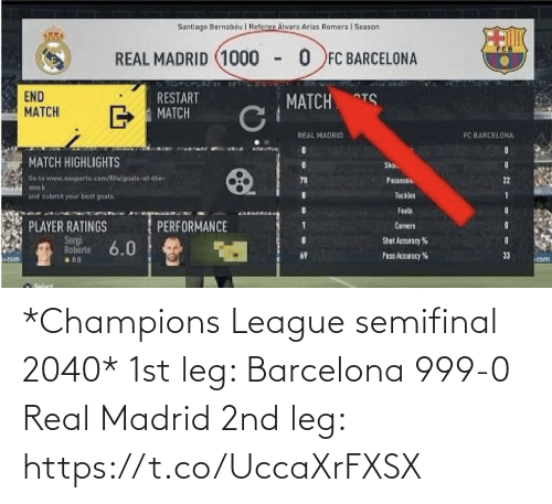 Champions League: *Champions League semifinal 2040*  1st leg:  Barcelona 999-0 Real Madrid  2nd leg: https://t.co/UccaXrFXSX