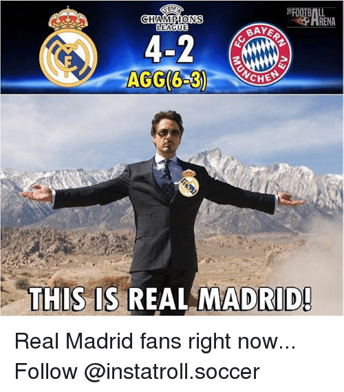 agg: CHAMPIONS  RENA  LEAGUE  BAYE  AGG(6 30  CHE  THIS IS  REAL MADRID! Real Madrid fans right now... Follow @instatroll.soccer
