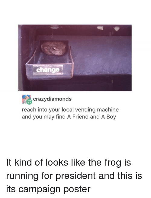 vending machines: change  Crazy diamonds  reach into your local vending machine  and you may find A Friend and A Boy It kind of looks like the frog is running for president and this is its campaign poster