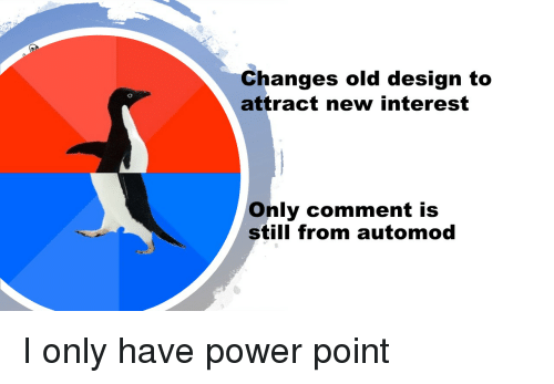 Funny, Power, and Old: Changes old design to  attract new interest  Only comment is  still from automod
