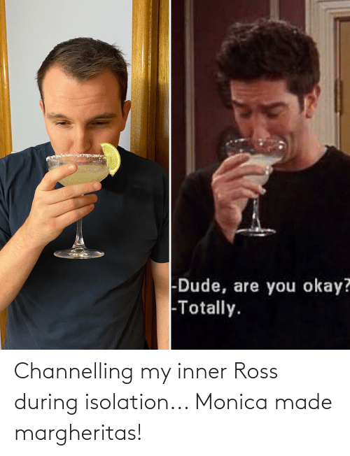ross: Channelling my inner Ross during isolation... Monica made margheritas!