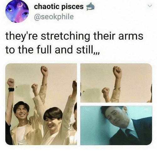 Pisces, Arms, and Chaotic: chaotic pisces  @seokphile  they're stretching their arms  to the full and stil,  $10