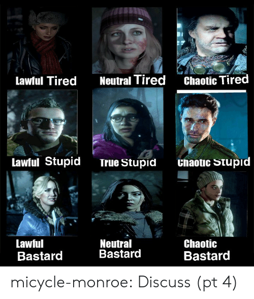 monroe: Chaotic Tired  Neutral Tired  Lawful Tired  Lawful Stupid  Unaotic Stupid  True Stupid  Neutral  Bastard  Lawful  Bastard  Chaotic  Bastard micycle-monroe:  Discuss (pt 4)