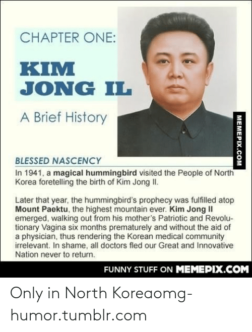 Kim Jong-il: CHAPTER ONE:  KIM  JONG IL  A Brief History  BLESSED NASCENCY  In 1941, a magical hummingbird visited the People of North  Korea foretelling the birth of Kim Jong II.  Later that year, the hummingbird's prophecy was fulfilled atop  Mount Paektu, the highest mountain ever. Kim Jong II  emerged, walking out from his mother's Patriotic and Revolu-  tionary Vagina six months prematurely and without the aid of  a physician, thus rendering the Korean medical community  irrelevant. In shame, all doctors fled our Great and Innovative  Nation never to return.  FUNNY STUFF ON MEMEPIX.COM  MEMEPIX.COM Only in North Koreaomg-humor.tumblr.com