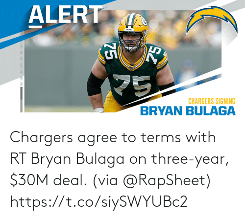 Terms: Chargers agree to terms with RT Bryan Bulaga on three-year, $30M deal. (via @RapSheet) https://t.co/siySWYUBc2