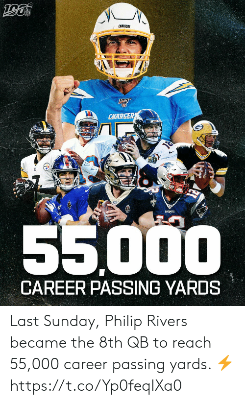 8Th: CHARGERS  CHARGER  PATRIOTS  55000  CAREER PASSING YARDS Last Sunday, Philip Rivers became the 8th QB to reach 55,000 career passing yards. ⚡️ https://t.co/Yp0feqIXa0