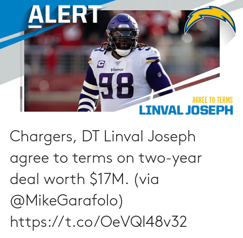 Terms: Chargers, DT Linval Joseph agree to terms on two-year deal worth $17M. (via @MikeGarafolo) https://t.co/OeVQl48v32