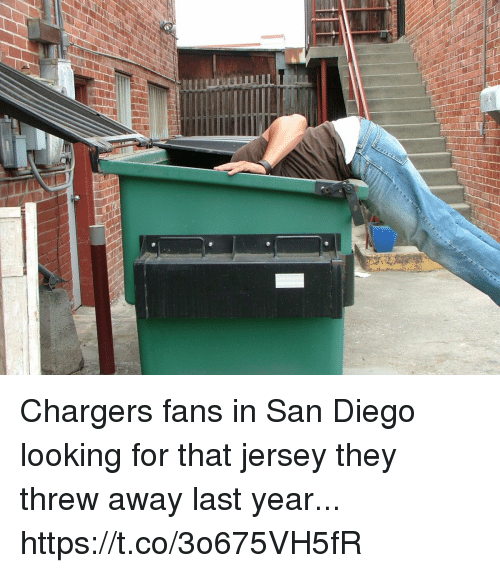 San Diego: Chargers fans in San Diego looking for that jersey they threw away last year... https://t.co/3o675VH5fR