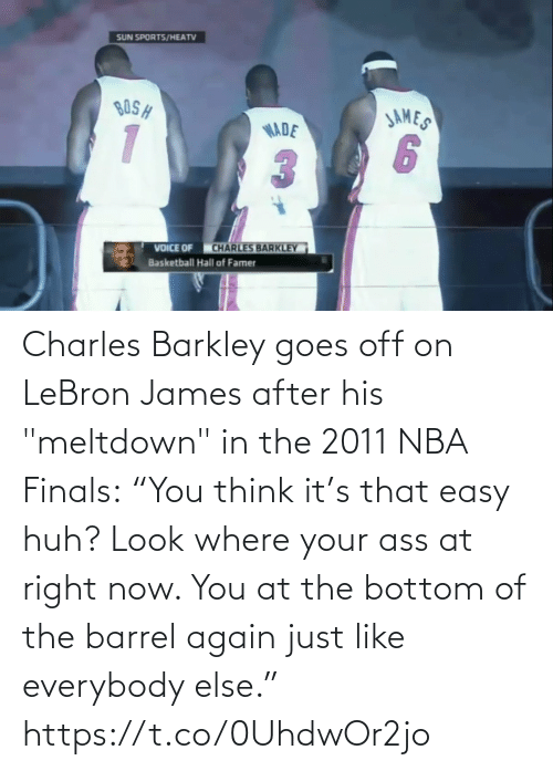 """LeBron James: Charles Barkley goes off on LeBron James after his """"meltdown"""" in the 2011 NBA Finals:  """"You think it's that easy huh? Look where your ass at right now. You at the bottom of the barrel again just like everybody else.""""   https://t.co/0UhdwOr2jo"""