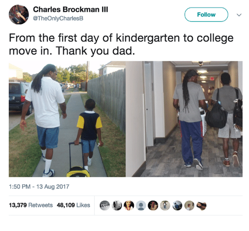 moving in: Charles Brockman III  @TheOnlyCharlesB  Follow  From the first day of kindergarten to college  move in. Thank you dad.  1:50 PM -13 Aug 2017  13,379 Retweets 48,109 Likes  @ D伊2 @⑧e.q
