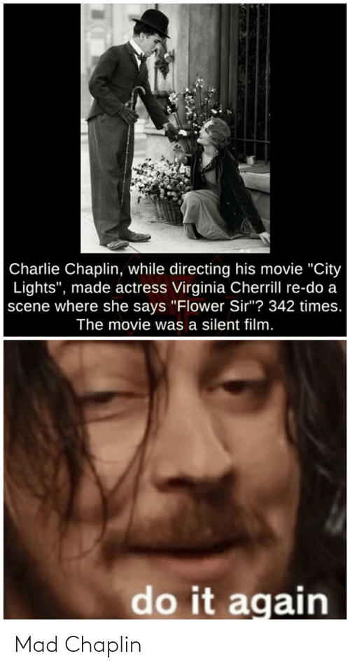 """Charlie, Do It Again, and Flower: Charlie Chaplin, while directing his movie """"City  Lights"""", made actress Virginia Cherrill re-do a  scene where she says """"Flower Sir""""? 342 times.  The movie was a silent film.  do it again Mad Chaplin"""