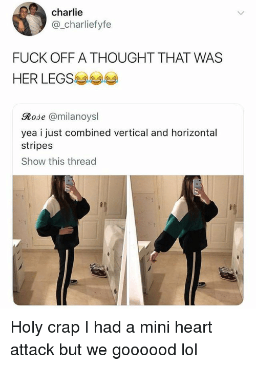 Charlie, Funny, and Lol: charlie  @_charliefyfe  FUCK OFF A THOUGHT THAT WAS  HER LEGS  Rose @milanoysl  yea i just combined vertical and horizontal  stripes  Show this thread Holy crap I had a mini heart attack but we goooood lol