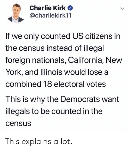 Charlie, New York, and California: Charlie Kirk  @charliekirk11  If we only counted US citizens in  the census instead of illegal  foreign nationals, California, New  York, and Illinois would lose a  combined 18 electoral votes  This is why the Democrats want  illegals to be counted in the  census This explains a lot.