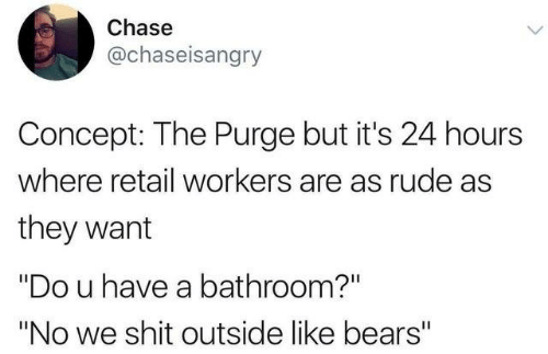 "Dank, Rude, and Shit: Chase  @chaseisangry  Concept: The Purge but it's 24 hours  where retail workers are as rude as  they want  ""Do u have a bathroom?""  ""No we shit outside like bears"""