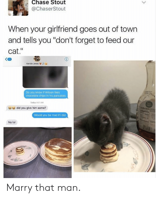 "Dank, Lol, and Chase: Chase Stout  @ChaserStout  When your girlfriend goes out of town  and tells you ""don't forget to feed our  cat.""  Kenzie Jones òea  Do you know if Wilson likes  chocolate chips in his pancakes  Today 001 AM  did you give him some?  Would you be mad if I did  No lol Marry that man."