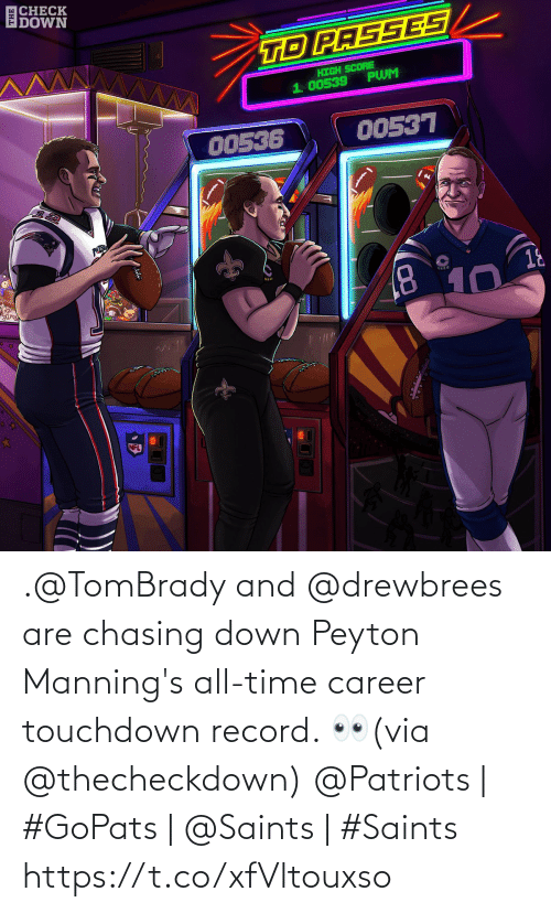 Memes, Nfl, and Patriotic: |CHECK  DOWN  TD PASSES  HIGH SCORE  PWM  1. 00539  00536  00537  PATRO  18  8.  10  NFL .@TomBrady and @drewbrees are chasing down Peyton Manning's all-time career touchdown record. 👀(via @thecheckdown)  @Patriots | #GoPats | @Saints | #Saints https://t.co/xfVltouxso