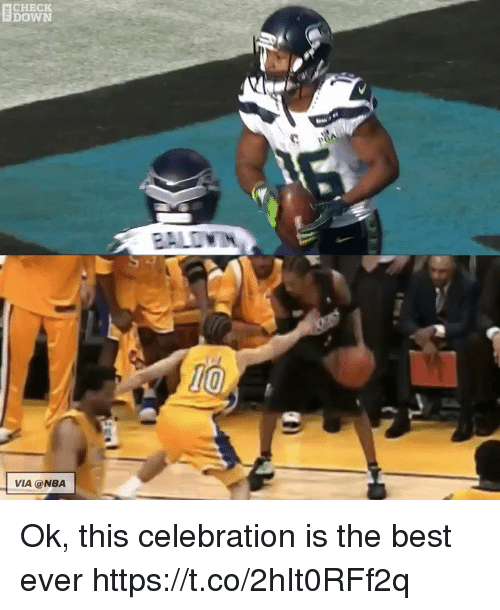 Football, Nba, and Nfl: CHECK  DOWN  VIA @NBA Ok, this celebration is the best ever https://t.co/2hIt0RFf2q