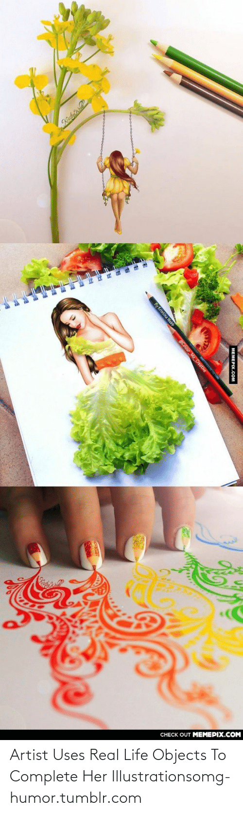 Life, Omg, and Tumblr: CHECK OUT MEMEPIX.COM  | МЕМЕРIХ.СOм  By Kristina Webb  @Colour Me_Creative Artist Uses Real Life Objects To Complete Her Illustrationsomg-humor.tumblr.com