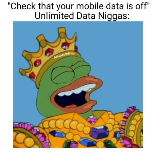 """Dell: """"Check that your mobile data is off""""  Unlimited Data Niggas:  Dell  Meme"""