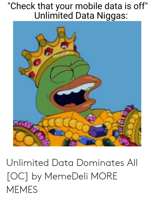 """Dell: """"Check that your mobile data is off""""  Unlimited Data Niggas:  Dell  Meme Unlimited Data Dominates All [OC] by MemeDeli MORE MEMES"""