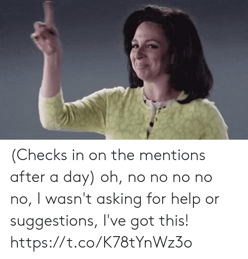 Memes, Help, and Asking: (Checks in on the mentions after a day) oh, no no no no no, I wasn't asking for help or suggestions, I've got this! https://t.co/K78tYnWz3o
