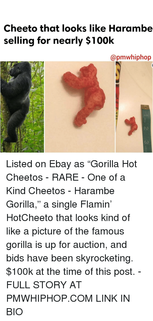 "Haramber: Cheeto that looks like Harambe  selling for nearly $100k  Capmwhiphop Listed on Ebay as ""Gorilla Hot Cheetos - RARE - One of a Kind Cheetos - Harambe Gorilla,"" a single Flamin' HotCheeto that looks kind of like a picture of the famous gorilla is up for auction, and bids have been skyrocketing. $100k at the time of this post. - FULL STORY AT PMWHIPHOP.COM LINK IN BIO"