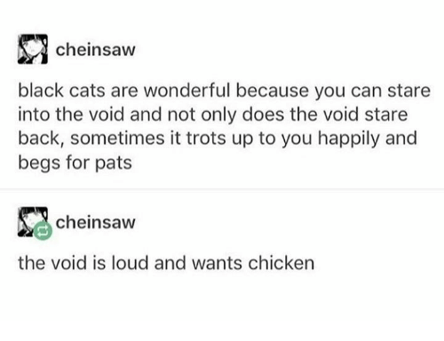 Cats, Dank, and Black: cheinsaw  black cats are wonderful because you can stare  into the void and not only does the void stare  back, sometimes it trots up to you happily and  begs for pats  cheinsaw  the void is loud and wants chicken
