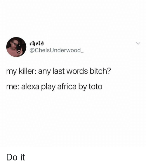 Africa, Bitch, and Dank Memes: chels  @ChelsUnderwood  my killer: any last words bitch?  me: alexa play africa by toto Do it