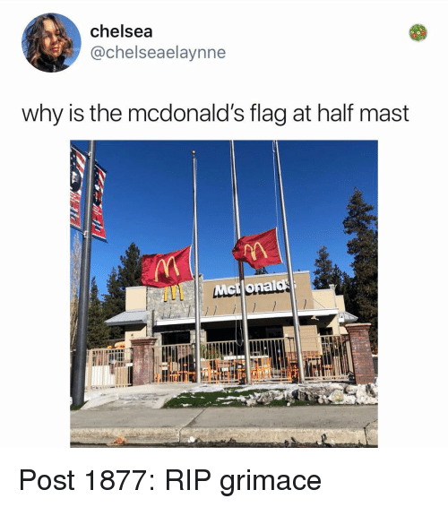 Mast: chelsea  @chelseaelaynne  why is the mcdonald's flag at half mast Post 1877: RIP grimace