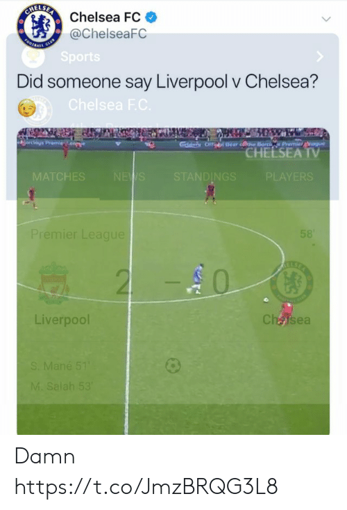 Chelsea Fc: Chelsea FC  @ChelseaFC  Did someone say Liverpool v Chelsea?  CHEESEA  TV  MA  ES  DINGS  PLAYERS  emier League  0  Liverpool  CháJsea Damn https://t.co/JmzBRQG3L8