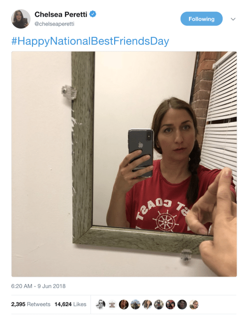 Chelsea, Chelsea Peretti, and Following: Chelsea Peretti  @chelseaperetti  Following  #HappyNationalBestFriendsDay  6:20 AM-9 Jun 2018  2,395 Retweets 14,624 Likes  MAKE  NOISE