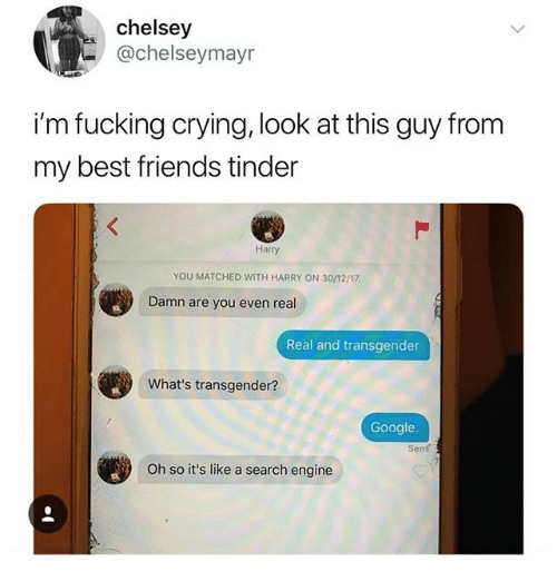 real real: chelsey  @chelseymayr  i'm fucking crying, look at this guy from  my best friends tinder  Harry  YOU MATCHED WITH HARRY ON 30/12/17  Damn are you even real  Real and transgender  What's transgender?  Google.  Oh so it's like a search engine