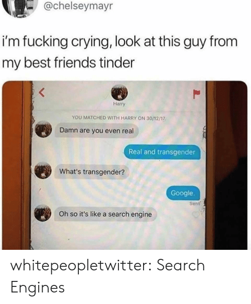 real real: -@chelseymayr  i'm fucking crying, look at this guy from  my best friends tinder  Harry  YOU MATCHED WITH HARRY ON 30/12/17  Damn are you even real  Real and transgender  What's transgender?  Google.  Sent  Oh so it's like a search engine whitepeopletwitter:  Search Engines